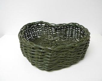 green heart woven basket