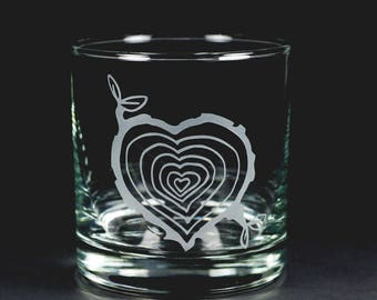 Tree Stump Heart Lowball Glasses
