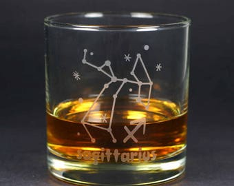 Sagittarius Zodiac Constellation lowball glass
