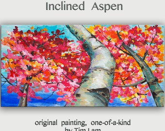 Tree wall art Landscape painting Oil painting Looking Up forest Modern art on gallery wrap canvas Wall hanging decor by tim Lam 48x24