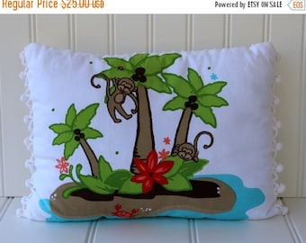 BIG SALE - Monkey Island and Vintage Chenille Pillow with Pom Trim - White Turquoise