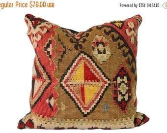 BIG SALE - Vintage Kilim Pillow - Pillow w/ Antique Rug Remnant - Salmon Green Tan
