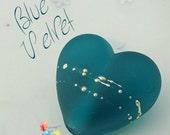 Lampwork Focal Bead, Blue Velvet Heart, Fine Silver, Teal Heart, Glass Heart, Sea Glass,  Frosted, Matt, Etched