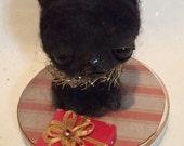 Christmas cat  Ooak  art doll