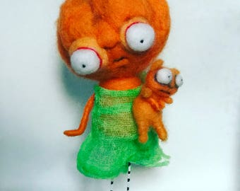 Penny the pretty pumpkin and her orange cat ooak art doll