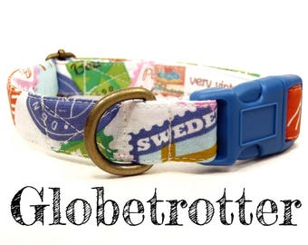 "Modern Whimsical Stamps Countries Sweden Paris Travel Dog Collar - Antique Brass Hardware - ""Globetrotter"""