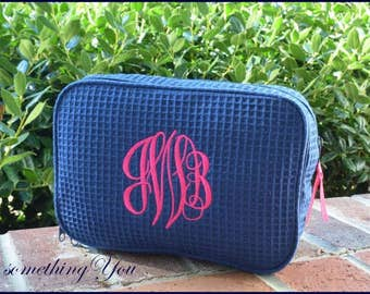 Monogrammed Cosmetic Bags Set of 10 ten, Bridesmaids Personalized DOUBLE COMPARTMENT Waffle Weave makeup case bridal party customized