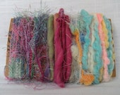 Spring Pastel Art Yarn Bundle Handspun Wool Fiber Supplies 1465