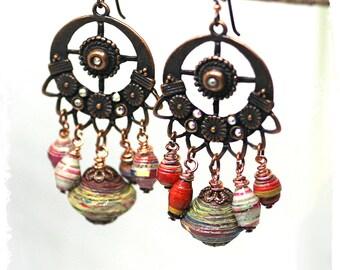Hippie Earrings Large, Gypsy Chandelier Earrings for Women, Boho Earrings, Tribal Statement Earrings, Paper Dangle Earrings, Rustic Bohemian