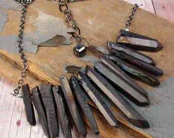 MYSTIC COAL - Matte Black Treated Natural Quartz Crystals Fan Necklace