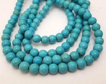 50 Turquoise Howlite Beads 8MM boho bead (H7017-OS)