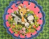 Deer Wreath and Friends / Crochet Vintage Illustration Ornament / Gift Tag / Card