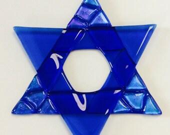 Star Of David Fused Glass Christmas Ornament (blue)