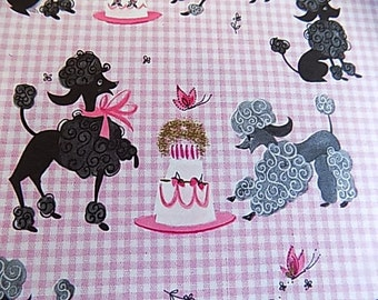 Vintage Hallmark Gift Wrap Scrapbooking Decopouge Altered Art Collage Pink Poodle Birthday Party