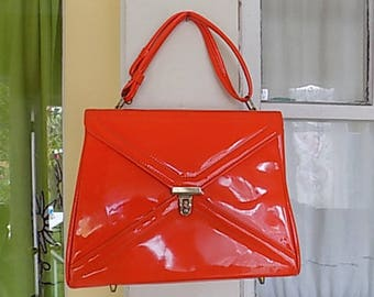 Vintage Patent Leather Orange Purse Handbag Clutch