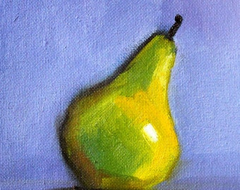 Green Pear, Still Life, Oil Painting, Original 5x7, Canvas, Kitchen Wall Decor, Blue Yellow, Minimalist, Tiny Little, Food Art, Small