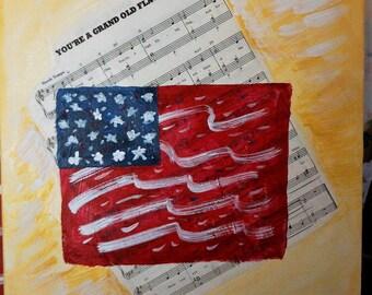 "Old Glory Patriotic Flag Painting - 12"" x 16"""