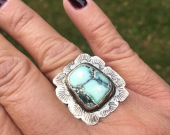 JUMA Jewelry -  Damele Turquoise Stamped Ring - From My Bench