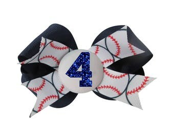 Baseball Personalized Hair Bow for Girls- Number Glitter Bow Clip , Ponytail Player Team Custom Colors