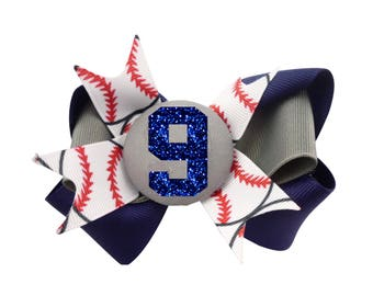 Baseball Hair Bow -navy glitter and gray or any colors - personalized with number and team color ribbon - choose any sport/ softball