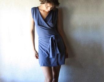 Wrap dress, Wrap top, Blue dress, Cotton dress, Sleeveless dress, V-neck dress, Short dress, Womens clothing, Tshirt dress, blouse, custom