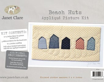 Beach Huts Appliqué Picture Kit - A lovely appliqué picture using free motion stitching and specially selected fabrics
