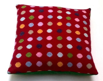 Knitted Wool Cushion / Pillow Cover - Cherry red with polka dots, lambswool