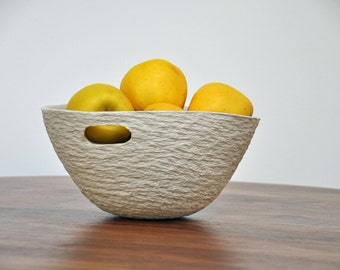 DISCOUNTED - Deep Gray Walnut Bowl with Handles - Fruit Bowl, Modern Ceramic Bowl, Serving bowl