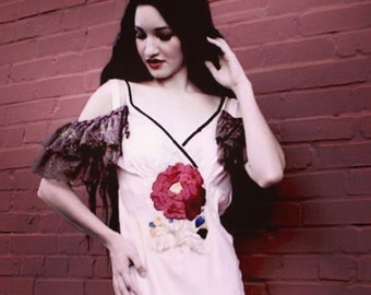 flower power collection SALE WAS 275 now 175 slip dress  pom pom lace embellishment and large edwardian flower