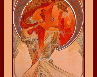 PR-265 Artistic Ephemera Print ~ One 8x10 or Two 5x7s ~ Alphonse Mucha- Art Nouveau 'Poetry'
