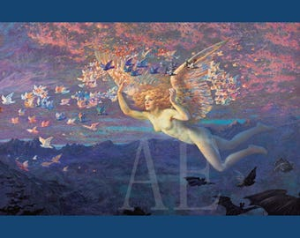 PR-090 Artistic Ephemera Print ~ One 8x10 or Two 5x7s ~ Edward Robert Hughes ~ On the Wings of the Morning