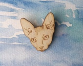 Sphynx Cat Brooch Hairless Cat Animal Jewellery Gift for Cat Lovers