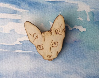 Cat Brooch Wearable Art - Sphynx Brooch Laser Cut Animal Art Eco