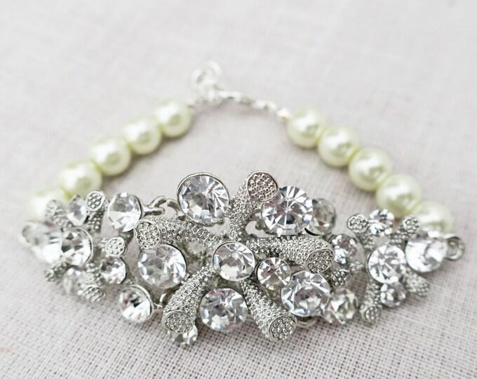 Pearl and Rhinestone Bridal Bracelet for Summer Weddings Vintage Style Bridal Jewellery Swarovski Pearl Wedding Bracelet for brides MARIN