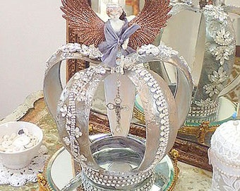 Rhinestone Crown Sculpture Frozen Charlotte Angel Large Santos Style Crown Decoration Lorelie Kay Original