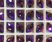 Pair Swarovski Crystal Lemon Fancy Stone 4230 Amethyst Glacier Rare Custom Coated 14x9 Small Ultra Faceted Chessboard Cut Purple Burgundy