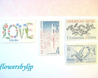 Love Flowers - Cherry Blossoms DC - Ducks - American Music Stamps, Mail 10 Letters, Cards, RSVPs 49 cents pink + blue postage stamps unused