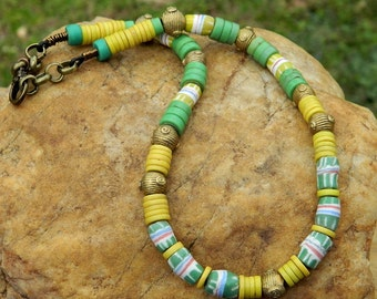 African Trade Bead Disc and Krobo Bead Choker Necklace