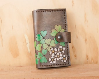 Coin Pocket Wallet - Small Womens Leather Wallet in the Lucky pattern with shamrocks, flowers and four leaf clovers - green + antique black
