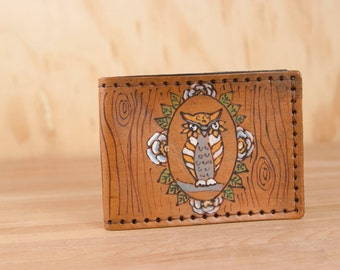 Leather Bifold Wallet - Mens or Womens - Emerson Owl Pattern with Owl and Woodgrain - Handmade