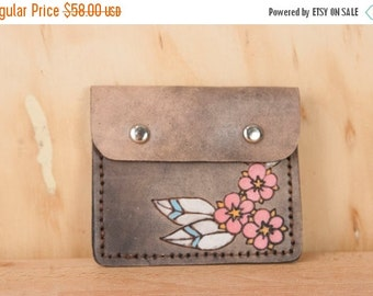 JANUARY SALE Front Pocket Wallet - Leather in the Dakota Pattern with flowers - Pink and antique black