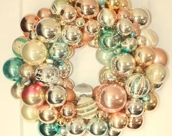 Shiny brite wreath, Vintage ornament wreath, glass ball wreath, Kitschy Christmas decor, heirloom wreath, pastel wreath, aqua, pink, silver