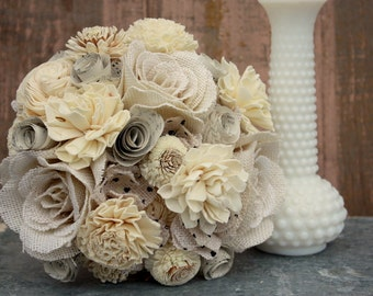 Sola flower bouquet, vintage sheet music and sola wood flower wedding bouquet, burlap flower, eco flowers, alternative keepsake bouquet