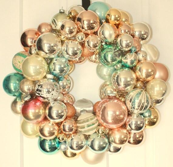 Sale Shiny Brite Wreath Vintage Ornament Wreath Glass Ball