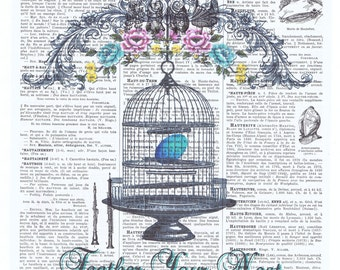 Gift.Altered Vintage Book Page.Feather your Nest, Birdcage, Bird, Egg, flowers. pastels.home decor/ buy 3 get 1 FREE,repurposed