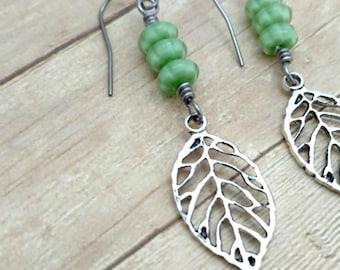 Leaf Earrings With Green Glass Beads, Dangle Earrings, Nature Jewelry, Leaves, Green Beaded Dangle Earrings