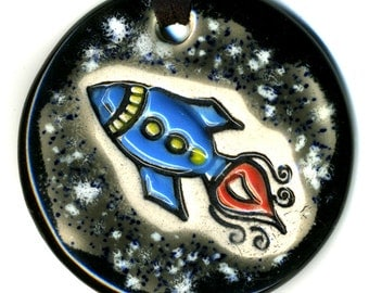Rocket in Space Ceramic Necklace In Black and Gray