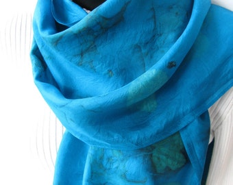 Unique Scarf for Women Hand Dyed Silk Gift for Her Turquoise Blue Silk Scarf Eco dyed with leaves Winter Fashion Scarf Luxury Gift nature
