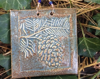 Rustic Pinecone Tile in Antique Blue Glaze