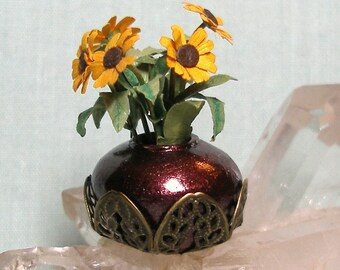 Miniature Bowl Vase in Brass Filigree Basket with Sunflowers in 1:12 Dollhouse Scale